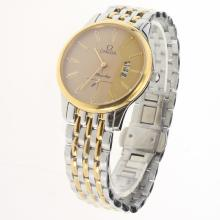Omega De Ville Co-Axial Two Tone Roman Markers with Golden Dial