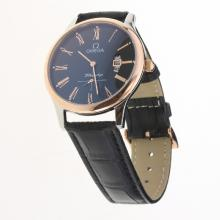 Omega De Ville Co-Axial Two Tone Case Roman Markers with Black Dial-Leather Strap