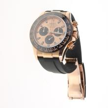 Rolex Daytona Chronograph Swiss Valjoux 7750 Movement Rose Gold Case Ceramic Bezel Stick Markers with Champagne Dial-Rubber Strap