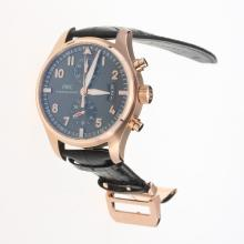 IWC Pilot Chronograph Swiss Valjoux 7750 Movement Rose Gold Case with Black Dial-Black Leather Strap