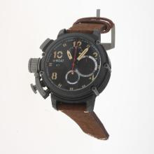 U-Boat Italo Fontana Working Chronograph PVD Case with Black Dial-Leather Strap-1