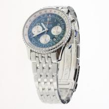 Breitling Navitimer Chronograph Swiss Valjoux 7750 Movement Number Markers with Blue Dial S/S