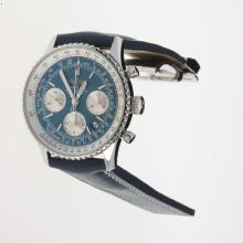 Breitling Navitimer Chronograph Swiss Valjoux 7750 Movement Stick Markers with Blue Dial-Leather Strap