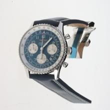 Breitling Navitimer Chronograph Swiss Valjoux 7750 Movement Number Markers with Blue Dial-Leather Strap