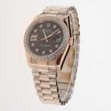 Rolex Datejust Automatic Full Rose Gold Diamond Bezel and Markers with Brown Dial