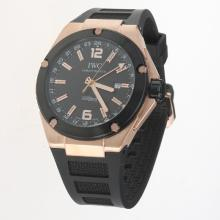 IWC InGenieur Working GMT Automatic Rose Gold Case with Black Dial-Rubber Strap