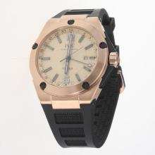 IWC InGenieur Working GMT Automatic Rose Gold Case with Champagne Dial-Rubber Strap