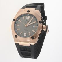 IWC InGenieur Working GMT Automatic Rose Gold Case with Gray Dial-Rubber Strap-1