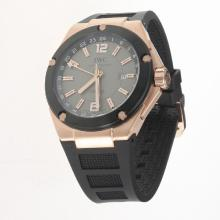 IWC InGenieur Working GMT Automatic Rose Gold Case with Gray Dial-Rubber Strap
