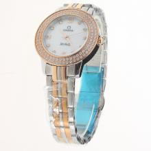 Omega De Ville Two Tone Diamond Bezel with MOP Dial-Lady Size-1