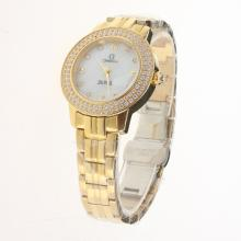 Omega De Ville Full Gold Diamond Bezel with MOP Dial-Lady Size