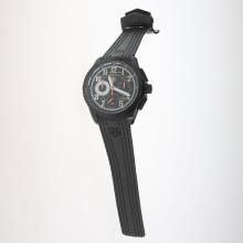 Tag Heuer Carrera CAL. HEUER 01 Working Chronograph PVD Case with Black Dial-Rubber Strap