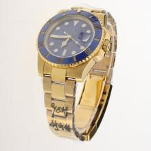 Rolex Submariner MIYOTA 9015 Automatic Movement Full Gold Ceramic Bezel with Blue Dial