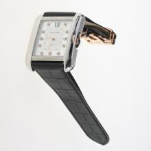 Cartier Tank Swiss ETA 2836 Movement Diamond Markers with White Dial-Leather Strap