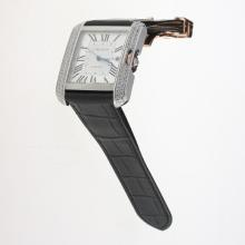 Cartier Tank Swiss ETA 2836 Movement Diamond Bezel Roman Markers with White Dial-Leather Strap