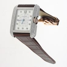 Cartier Tank Swiss ETA 2836 Movement Diamond Bezel & Markers with White Dial-Leather Strap