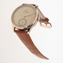 IWC Portuguese Manual Winding Rose Gold Case with Champagne Dial-Leather Strap