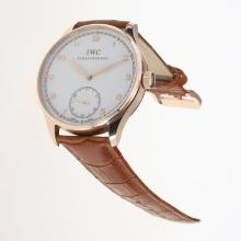 IWC Portuguese Manual Winding Rose Gold Case with White Dial-Leather Strap
