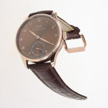 IWC Portuguese Manual Winding Rose Gold Case with Brown Dial-Leather Strap