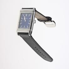 Jaeger-Lecoultre Reverso Stick Markers with Blue Dial-Leather Strap