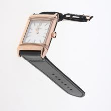 Jaeger-Lecoultre Reverso Rose Gold Case Stick Markers with White Dial-Leather Strap-1