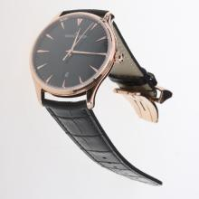 Jaeger-Lecoultre Master Control MIYOTA 9015 Automatic Rose Gold Case with Black Dial-Leather Strap