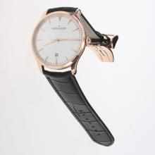 Jaeger-Lecoultre Master Control MIYOTA 9015 Automatic Rose Gold Case with Silver Dial-Leather Strap