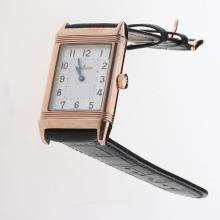 Jaeger-Lecoultre Reverso Rose Gold Case Number Markers with White Dial-Leather Strap