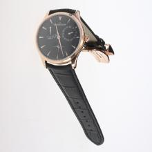 Jaeger-Lecoultre Master Control Working Power Reserve 41J Automatic Rose Gold Case with Black Dial-Leather Strap