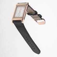 Jaeger-Lecoultre Reverso Rose Gold Case Stick Markers with White Dial-Leather Strap