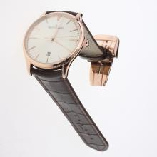 Jaeger-Lecoultre Master Control MIYOTA 9015 Automatic Rose Gold Case with Champagne Dial-Leather Strap
