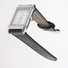 Jaeger-Lecoultre Reverso Stick Markers with White Dial-Leather Strap