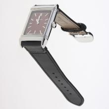 Jaeger-Lecoultre Reverso Stick Markers with Brown Dial-Leather Strap