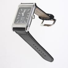 Jaeger-Lecoultre Reverso Stick Markers with Black Dial-Leather Strap