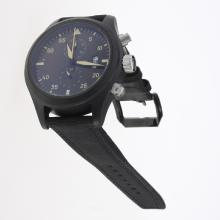 IWC Pilot Top Gun Working Chronograph PVD Case with Dark Green Dial-Nylon Strap
