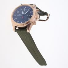 IWC Pilot Top Gun Working Chronograph Rose Gold Case with Black Dial-Nylon Strap