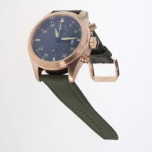 IWC Pilot Top Gun Working Chronograph Rose Gold Case with Dark Green Dial-Nylon Strap