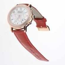 Chopard Imperiale Working Chronograph Rose Gold Case Diamond Bezel with MOP Dial-Red Leather Strap