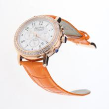 Chopard Imperiale Working Chronograph Rose Gold Case Diamond Bezel with MOP Dial-Orange Leather Strap