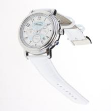 Chopard Imperiale Working Chronograph with Blue MOP Dial-White Leather Strap