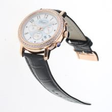 Chopard Imperiale Working Chronograph Rose Gold Case Diamond Bezel with Blue MOP Dial-Black Leather Strap