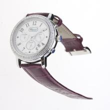 Chopard Imperiale Working Chronograph Diamond Bezel with MOP Dial-Purple Leather Strap