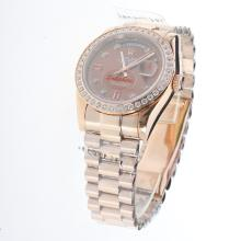 Rolex Day-Date Automatic Full Rose Gold Diamond Bezel and Markers with Brown Dial