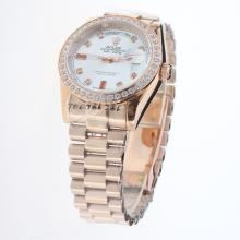 Rolex Day-Date Automatic Full Rose Gold Diamond Bezel and Markers with Silver Dial