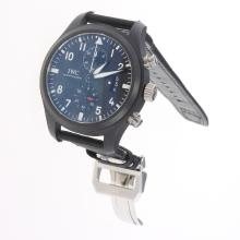 IWC Pilot Top Gun Chronograph Swiss Valjoux 7750 Movement Ceramic Case with Black Dial-Nylon Strap-1