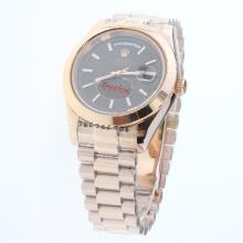 Rolex Day-Date II Automatic Full Rose Gold Stick Markers with Brown Checkered Dial