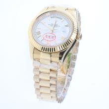 Rolex Day-Date II Automatic Full Gold Roman/Stick Markers with White Dial