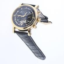 Patek Philippe Perpetual Calendar Tourbillon Automatic Gold Case with Black Dial-Leather Strap