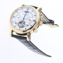 Patek Philippe Perpetual Calendar Tourbillon Automatic Gold Case with White Dial-Leather Strap-4