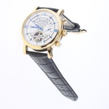 Patek Philippe Perpetual Calendar Tourbillon Automatic Gold Case with White Dial-Leather Strap-2